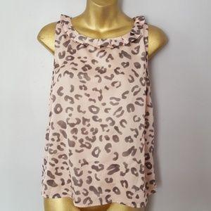 Nine west leopard pink blouse size XS